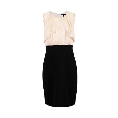 colour block draped two-piece style dress black and white